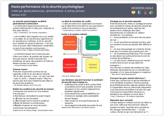 Haute performance via la sécurité psychologique